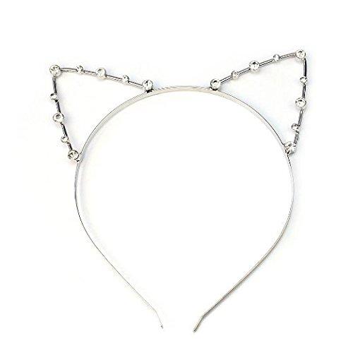 Ecloud Shop® Cat Ear fille sexy bandeau Argent strass cristal bande de cheveux en métal