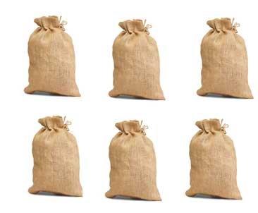 Pack of 6 - High Quality Jute/Burlap Drawstring Bag Eco-friendly Reusable Bag Natural Size 10 x 14 Natural Color unlaminated from inside and Drawstring closure bulk bags - CarryGreen Bags