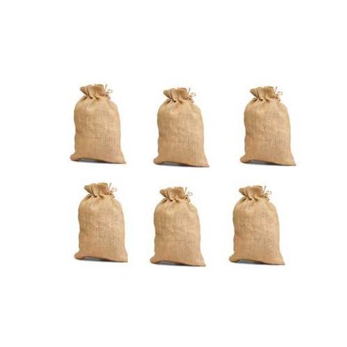 High Quality Jute/Burlap Drawstring Bag Eco Friendly Natural 10x14- Set of 6 - Summer End Sale