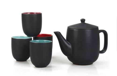 JustNile Ceramic Tea Set – Stylish Black Tea Pot w/ 4 Tea Cups