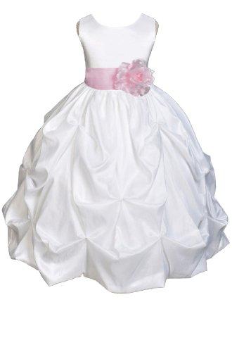 Amj Dresses Inc Girls White/Pink Flower Girl Pageant Dress Size 6