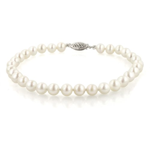 14k White Gold 5.5-6mm White Freshwater Cultured AA Quality Pearl Bracelet, 8""