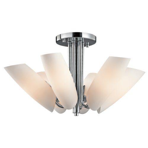 B00434MDQI Kichler Lighting 42217CH Stella 6-Light Semi-Flush Ceiling Light, Chrome with Satin-Etched Cased Opal Glass