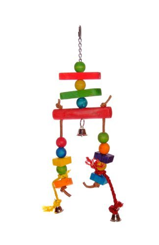 Liberta Wooden Stack With Rope And Bells Toy For Parrot, 40 Cm, Multi-Coloured