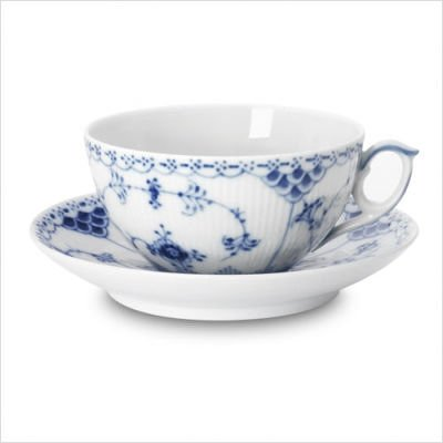 Blue Fluted Half Lace 9.5 Oz Tea Cup and Saucer