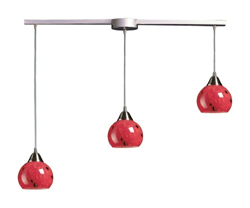 B000N31CZG Elk 101-3L-FR 3-Light Pendant In Satin Nickel and Fire Red Glass