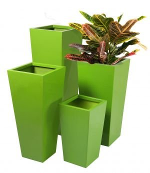 Tall Flared Square Fibreglass Planter - Gel Coat Lime Green - Large
