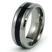 8mm Black Resin Inlay Titanium Ring (Sizes 7-13)