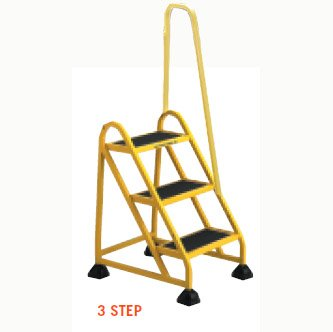 Stop-Step Ladder - 3 Step with Right Handrail - Yellow