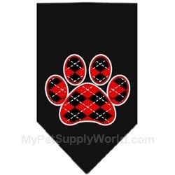 Dog Supplies Argyle Paw Red Screen Print Bandana