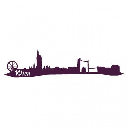 Wandtattoo Wien Skyline Wandaufkleber viele Farben und Größen sofort lieferbar in 8 Größen und 25 Farben (40x9cm aubergine)