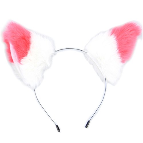 E-TING Cat Fox Ears Headband Neko Anime Halloween Cosplay Fancy Dress Watermelon Red