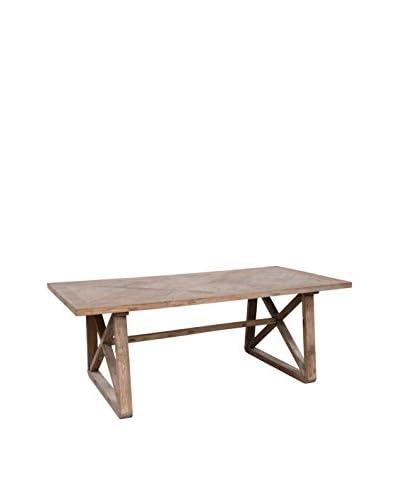 Tottenham Court Joli Dining Table, Natural Elm/Antiqued Iron