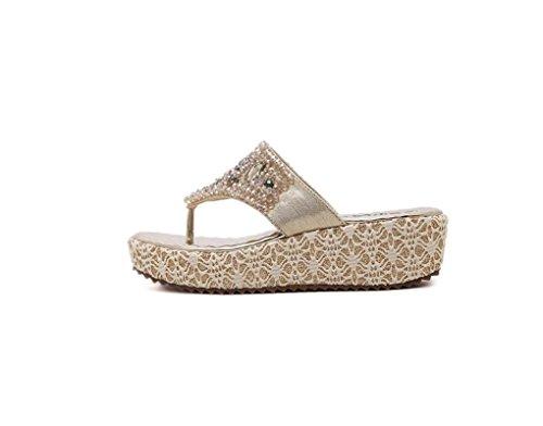 Diamante cunei piattaforma pantofole strass , gold , 37