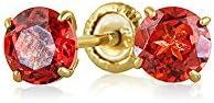Bling 14K Gold Gemstone Baby Safety Earrings