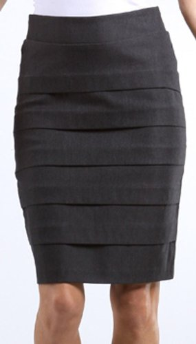 Sakkas Knee Length Tiered Sleek Stretch Skirt (Choose Black, Charcoal or Brown)
