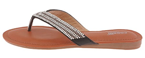 Capelli New York Faux Leather Thong with Memory Foam Ladies Flip Flops Black Combo 7 (Capelli New York Sandals compare prices)