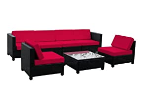 7 pcs Luxury Wicker Patio Sectional Indoor Outdoor Sofa Furniture set - Red Cushion by Exacme