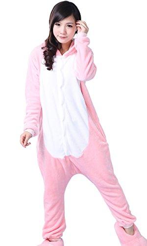 Womens Mens Adult Unisex Fleece Animal Onesies Pyjamas Sleepsuit Pink Piggy Size S (Onesie For Male Adults)