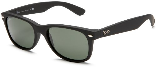 Ray-Ban RB2132 New Wayfarer Sunglasses,Black Rubber Frame/Green Lens,55 mm