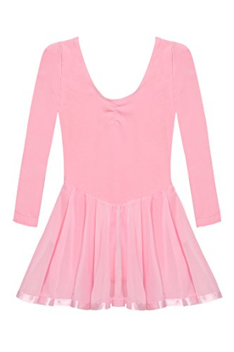 arshiner-girls-classics-ruffle-long-flutter-sleeve-leotard140age-for-8-9y-pink