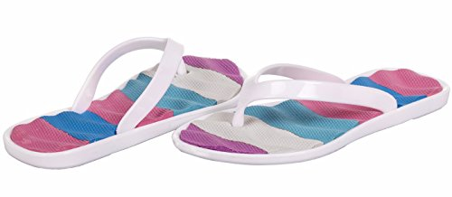 Chatties Girls Jelly Flip Flops - White, Size 12 / 13 (More Colors and Sizes Available) Sequined Espadrille