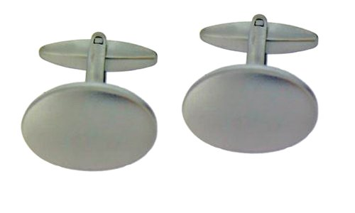Code Red Base Metal Rhodium Plated Matte Finished Oval Cufflink