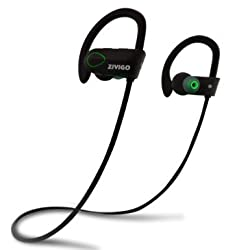 Bluetooth Headphones By Zivigo, Bluetooth Earbuds - Sweat-proof, IPX7 Waterproof Headphones with Noise Cancellation Technology, Microphone & Voice prompts,(Black)