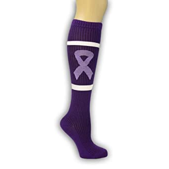 Click here to buy Purple Ribbon Cancer Awareness Knee High Socks Sports Teams Relay for Life Walk by Palmetto Fundraising.