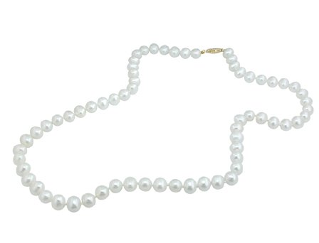 14K Yellow Gold Fresh Water White Pearl Necklace With Fisheye Clasp (7-7.5 mm)