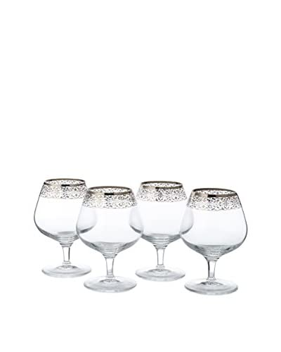 A Casa K Set of 4 Crystal & Platinum 13-Oz. Brandy Goblets, Platinum