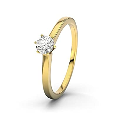 Rosario 21DIAMONDS Women's Ring 14 Carat (585) Yellow Gold SI1 0.25 ct Brilliant Cut Diamond Engagement Ring Engagement Rings