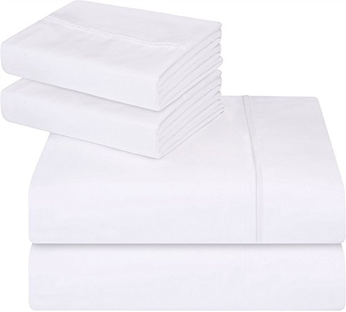 Utopia Bedding 4-Piece Queen Bed Sheet Set - Soft Brushed Microfiber Wrinkle Fade and Stain Resistant - White