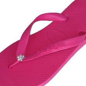Image of SHOCK PINK AB FLOWER Swarovski Crystal Havaianas Flip Flops Sandals Thongs sizes 5-11 (B002GUFZ8O)