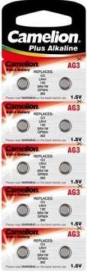 Pile-bouton aG3 cAMELION alkaline 1,5 v blister 10