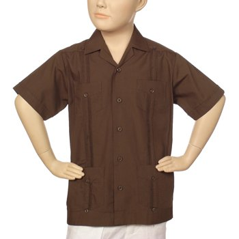 Boys poly-cotton guayabera in chocolate. Short sleeve
