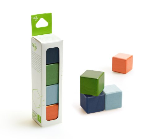 4 Piece Tegu Magnetic Wooden Block Cube Set, Nelson