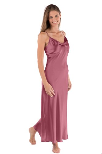 Women'S Long Silk Nightgown - Caviar Noir (Mulberry, Large) 100% Silk Nightgowns Sets Apparel Valentine Gifts Presents Ideas Mom Gifts For Mom Mother Best Cool Good Great Gift For Mother In Law Grandma Gift From Son Daughter Ws0401-Mul-L