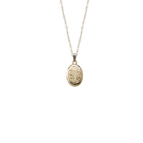 Children's 14k Gold-Filled Hand Engraved Oval Locket Necklace, 15