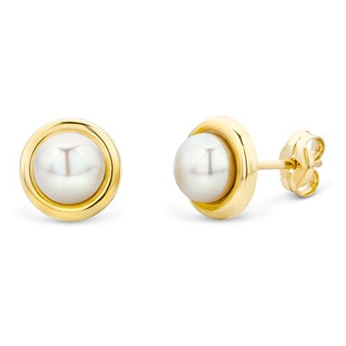Miore - Orecchini in oro giallo 9 carati con perle