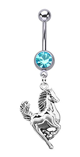 Aqua Lt Blue Steel Running Horse Dangle Belly Button Navel Ring Piercing Bar Body Jewelry 14G