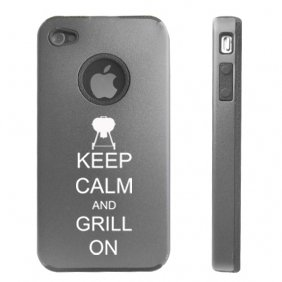 Apple Iphone 4 4S Silver D5558 Aluminum & Silicone Case Cover Keep Calm And Grill On Bbq
