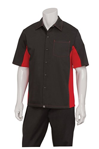 Chef Works CSMC-BRM-2XL Men Universal Contrast Shirt, Black / Red, 2XL (Chefs Work Shirt compare prices)