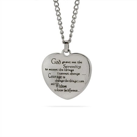 Stainless Steel Serenity Prayer Heart Pendant