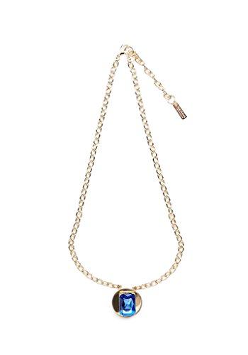 Light Sapphire Gemstone Gold Disc Necklace