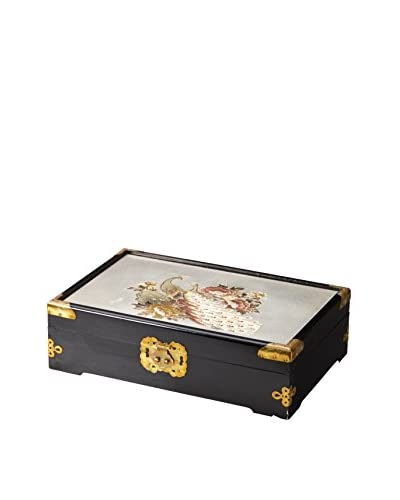 Dynasty Gallery Large Chokin Art Peacock Jewelry Box, Black