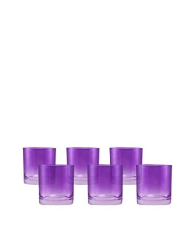 10 Strawberry Street Set Of 6 Love Double Old Fashioned Glasses, Purple