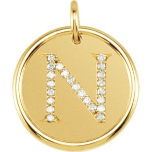 14K Yellow Gold N Polished Posh Mommy Mother'S Mom® Initial Roxy Pendant Jewelry With Diamonds front-180863