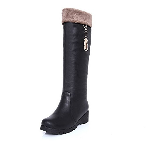 BeautyLover Womens Closed Round Toe Kitten Heels Solid PU Artificial Plush Boots with Heighten Inside