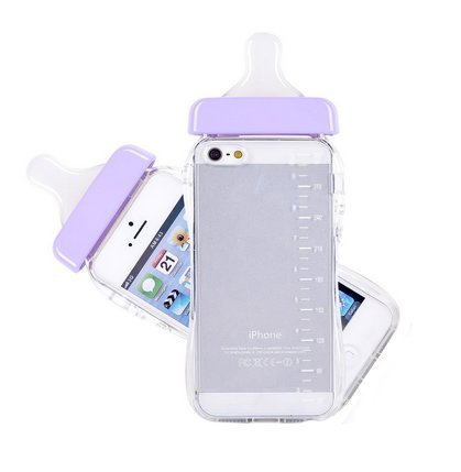 A-Smile@ Iphone 6 6S Baby Milk Bottle Case,Cute 3D Baby Feeding Bottle Shaped Clear TPU Soft Case With Lanyard For Iphone 6 6S (4.7 inch),(purple) (Feeding Bottle Case compare prices)